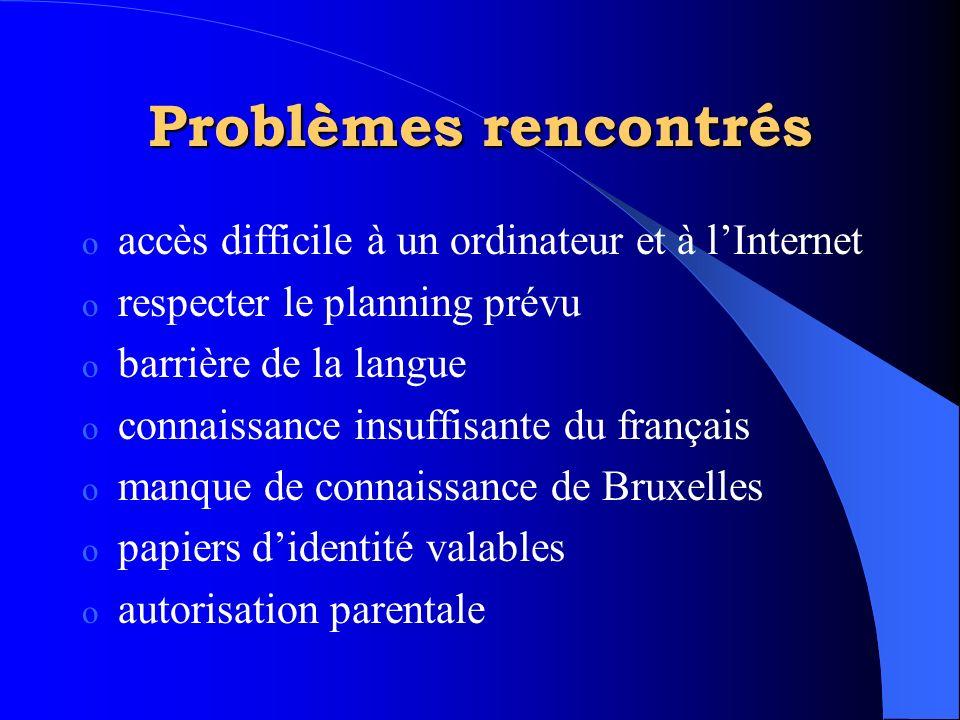 Problèmes rencontrés o accès difficile à un ordinateur et à l'Internet o respecter le planning prévu o barrière de la langue o connaissance insuffisan