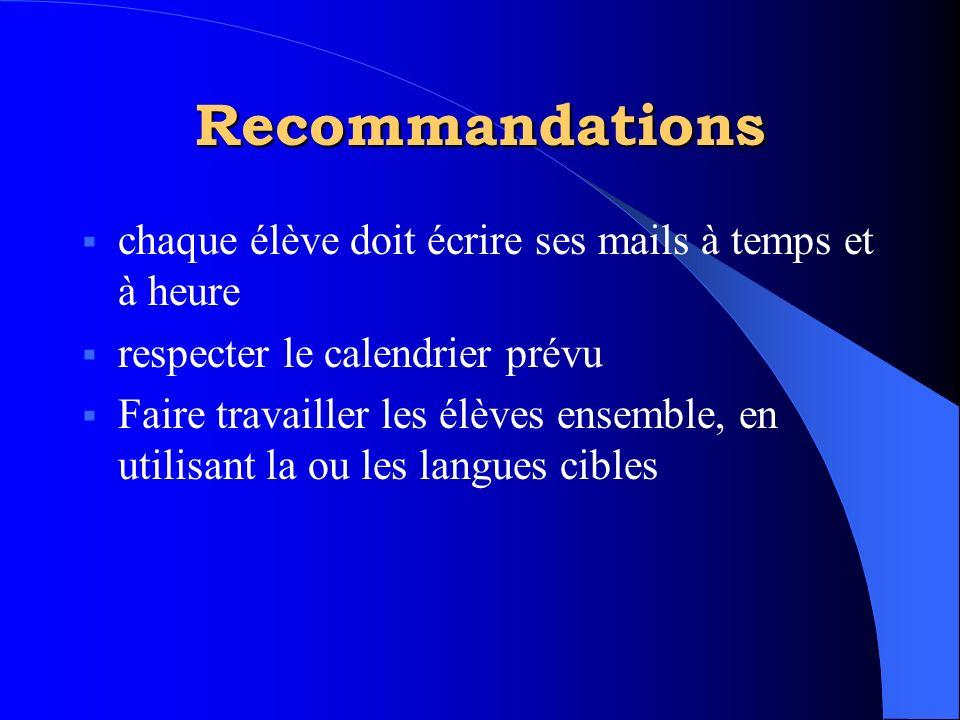 Recommandations  chaque élève doit écrire ses mails à temps et à heure  respecter le calendrier prévu  Faire travailler les élèves ensemble, en uti