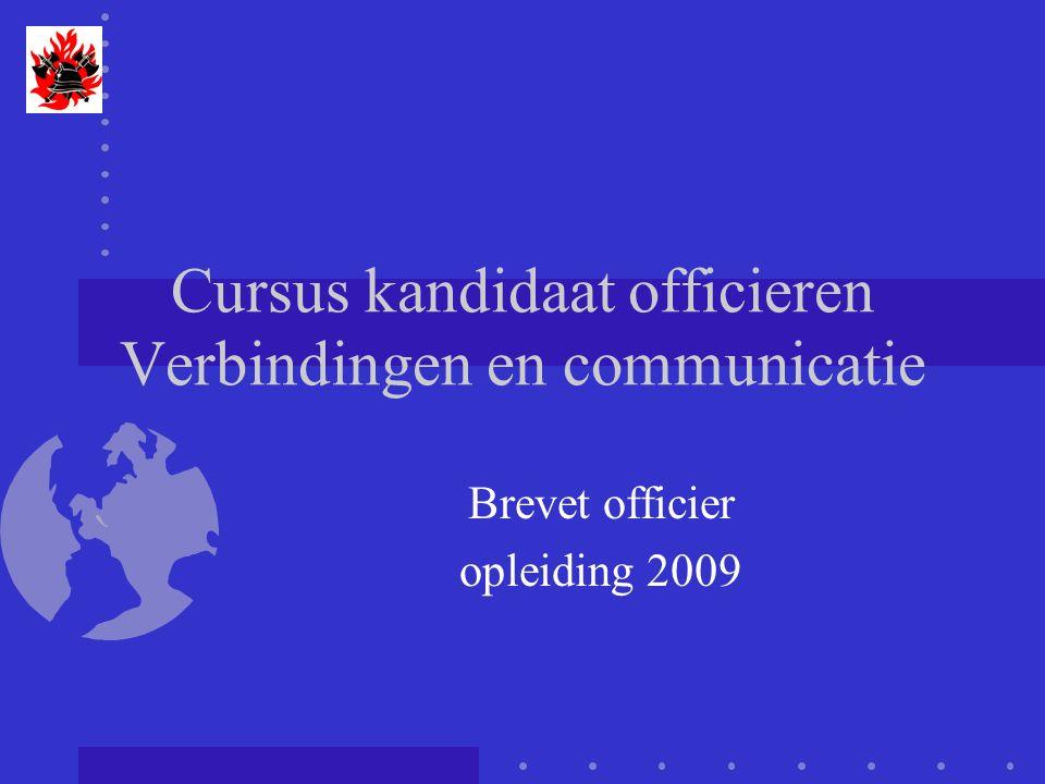 Cursus verbindingen - communicatie Alarmeringsterminals Zowel input als output -Analoge zender, kanaalsaanpassing -paging: ZVEI, pocsag -Telefonie: spraak, SMS -SDS verbinding -E-mail Transcodering