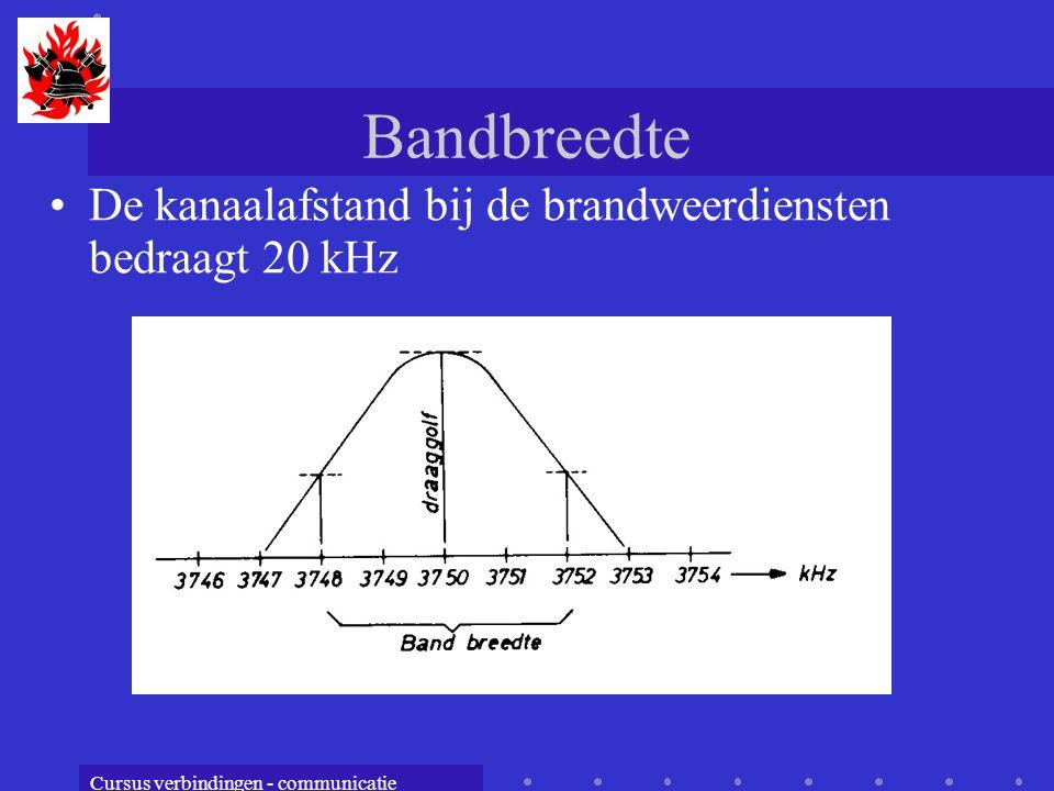Cursus verbindingen - communicatie Bandbreedte De kanaalafstand bij de brandweerdiensten bedraagt 20 kHz