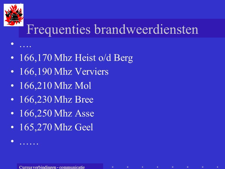 Cursus verbindingen - communicatie Frequenties brandweerdiensten …. 166,170 Mhz Heist o/d Berg 166,190 Mhz Verviers 166,210 Mhz Mol 166,230 Mhz Bree 1