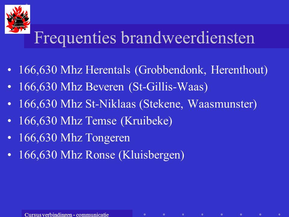 Cursus verbindingen - communicatie Frequenties brandweerdiensten 166,630 Mhz Herentals (Grobbendonk, Herenthout) 166,630 Mhz Beveren (St-Gillis-Waas) 166,630 Mhz St-Niklaas (Stekene, Waasmunster) 166,630 Mhz Temse (Kruibeke) 166,630 Mhz Tongeren 166,630 Mhz Ronse (Kluisbergen)