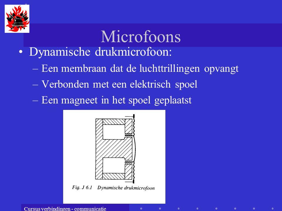 Cursus verbindingen - communicatie Microfoons Dynamische drukmicrofoon: –Een membraan dat de luchttrillingen opvangt –Verbonden met een elektrisch spoel –Een magneet in het spoel geplaatst