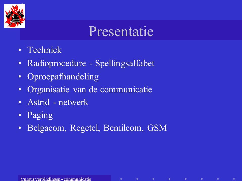 Cursus verbindingen - communicatie Presentatie Techniek Radioprocedure - Spellingsalfabet Oproepafhandeling Organisatie van de communicatie Astrid - netwerk Paging Belgacom, Regetel, Bemilcom, GSM