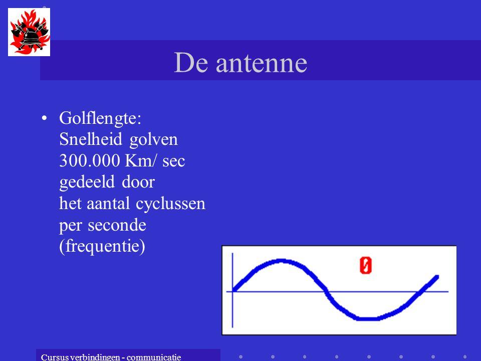 Cursus verbindingen - communicatie De antenne Golflengte: Snelheid golven 300.000 Km/ sec gedeeld door het aantal cyclussen per seconde (frequentie)