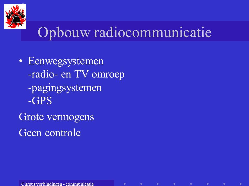 Cursus verbindingen - communicatie Opbouw radiocommunicatie Eenwegsystemen -radio- en TV omroep -pagingsystemen -GPS Grote vermogens Geen controle