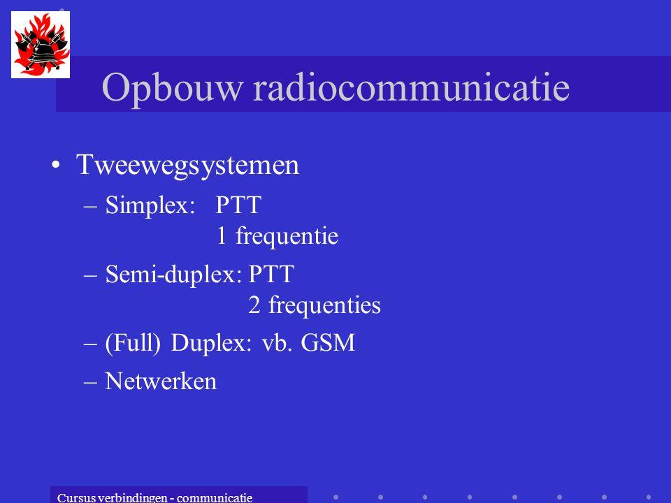 Cursus verbindingen - communicatie Opbouw radiocommunicatie Tweewegsystemen –Simplex: PTT 1 frequentie –Semi-duplex:PTT 2 frequenties –(Full) Duplex: vb.