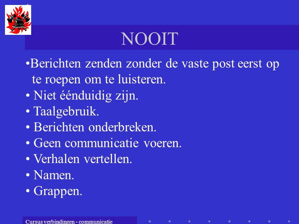Cursus verbindingen - communicatie NOOIT Berichten zenden zonder de vaste post eerst op te roepen om te luisteren. Niet éénduidig zijn. Taalgebruik. B