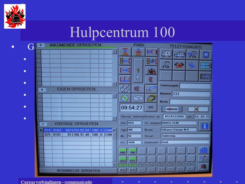 Cursus verbindingen - communicatie Hulpcentrum 100 Geschiedenis 1960 : invoering 900 1964: Wet op de dringende geneeskundige hulp 1978: elektromagneti