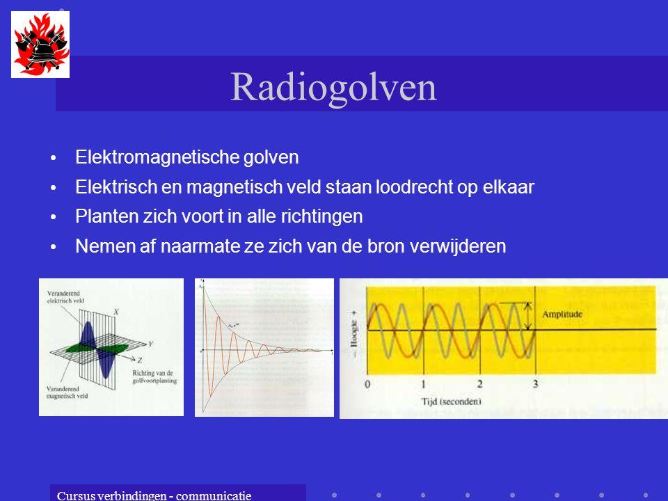 Cursus verbindingen - communicatie Radiogolven Elektromagnetische golven Elektrisch en magnetisch veld staan loodrecht op elkaar Planten zich voort in alle richtingen Nemen af naarmate ze zich van de bron verwijderen