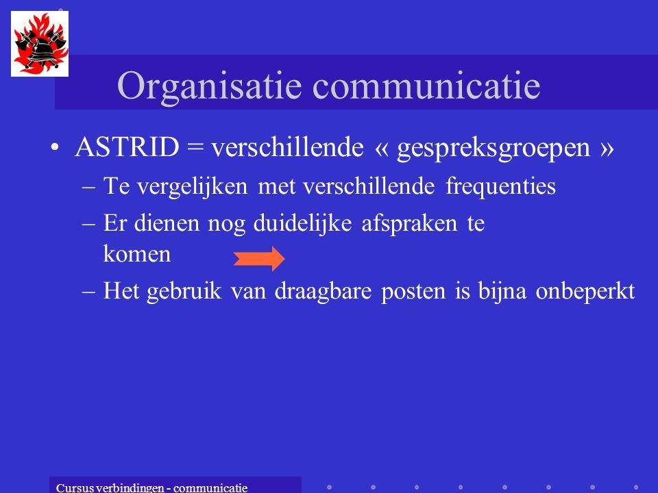 Cursus verbindingen - communicatie Organisatie communicatie ASTRID = verschillende « gespreksgroepen » –Te vergelijken met verschillende frequenties –Er dienen nog duidelijke afspraken te komen –Het gebruik van draagbare posten is bijna onbeperkt