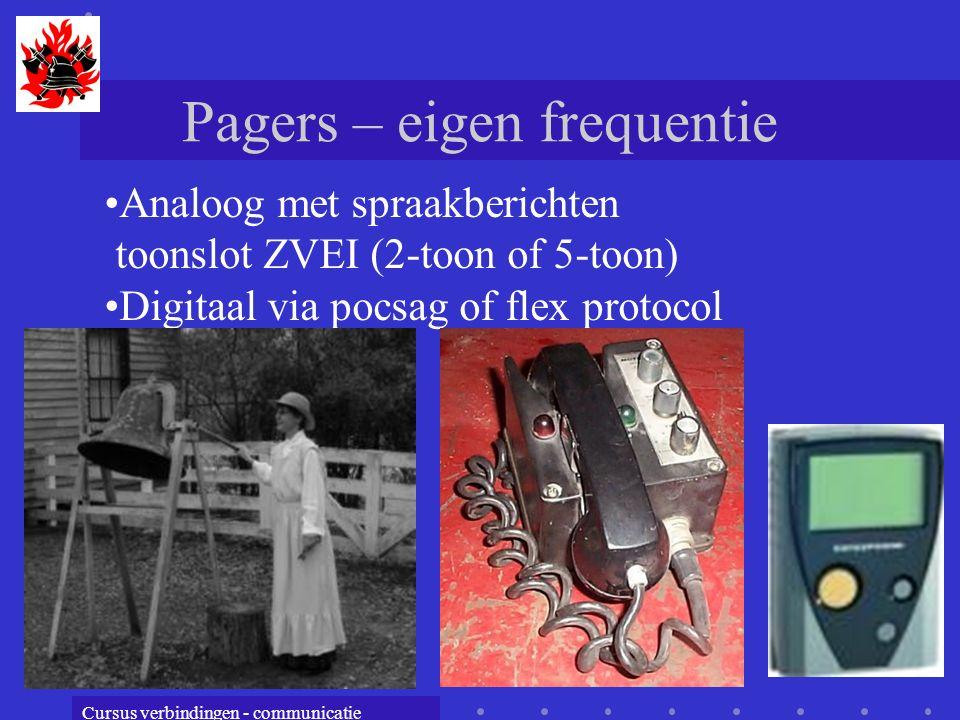 Cursus verbindingen - communicatie Pagers – eigen frequentie Analoog met spraakberichten toonslot ZVEI (2-toon of 5-toon) Digitaal via pocsag of flex