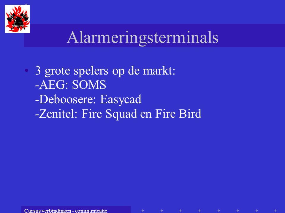 Cursus verbindingen - communicatie Alarmeringsterminals 3 grote spelers op de markt: -AEG: SOMS -Deboosere: Easycad -Zenitel: Fire Squad en Fire Bird