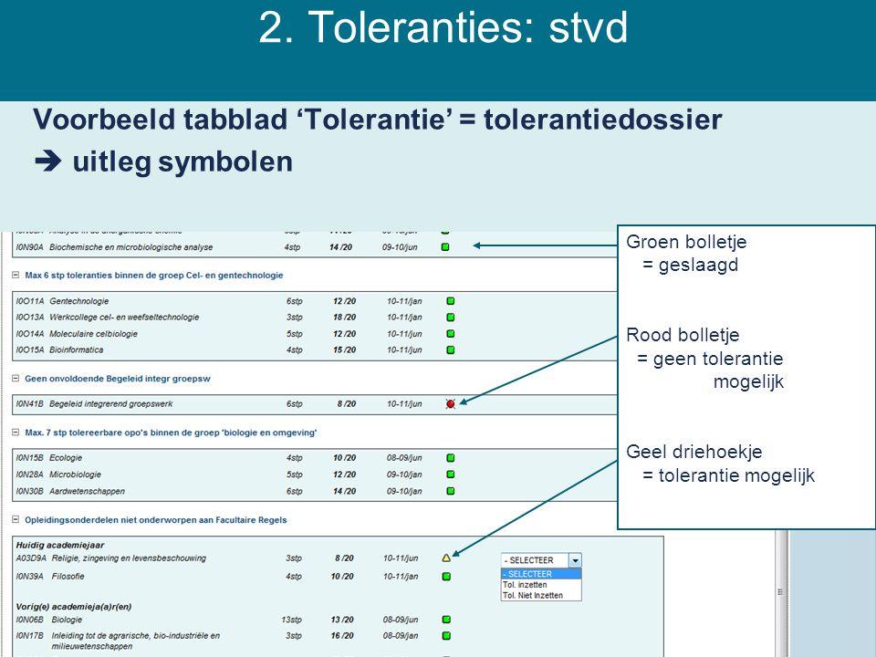 2. Toleranties: stvd Voorbeeld tabblad 'Tolerantie' = tolerantiedossier  uitleg symbolen Groen bolletje = geslaagd Rood bolletje = geen tolerantie mo