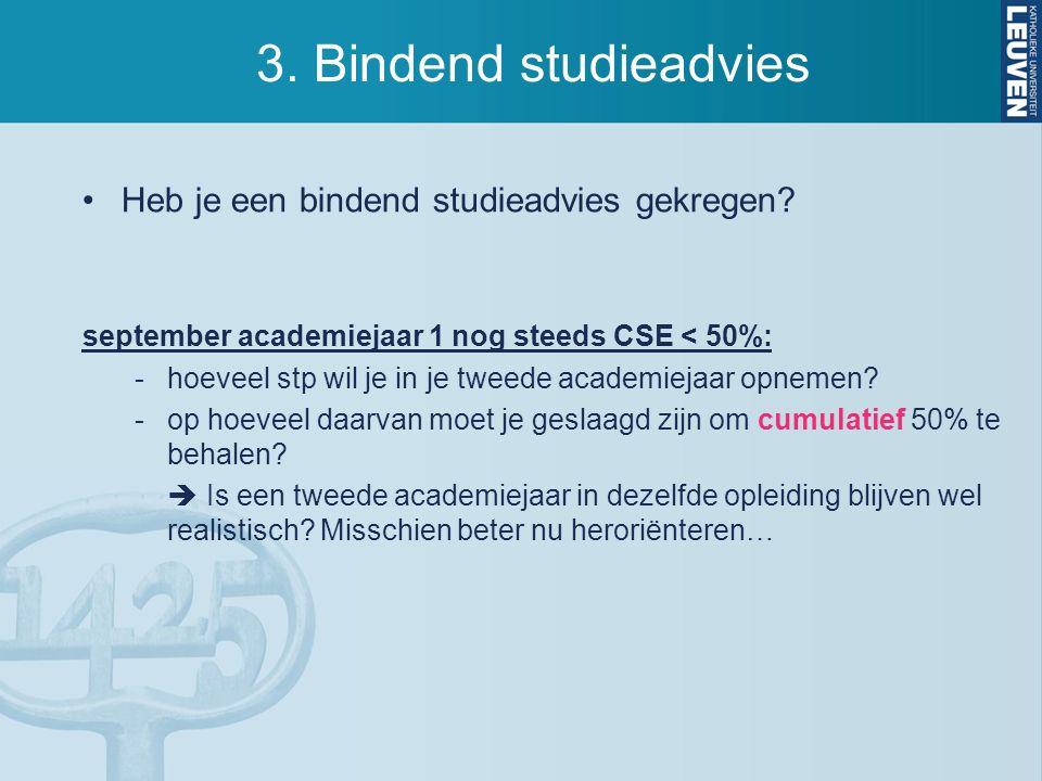 3. Bindend studieadvies Heb je een bindend studieadvies gekregen.