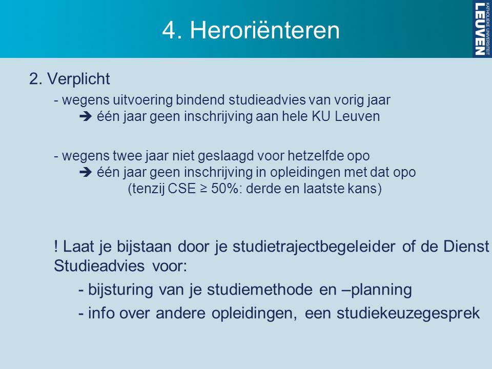 4. Heroriënteren 2. Verplicht - wegens uitvoering bindend studieadvies van vorig jaar  één jaar geen inschrijving aan hele KU Leuven - wegens twee ja