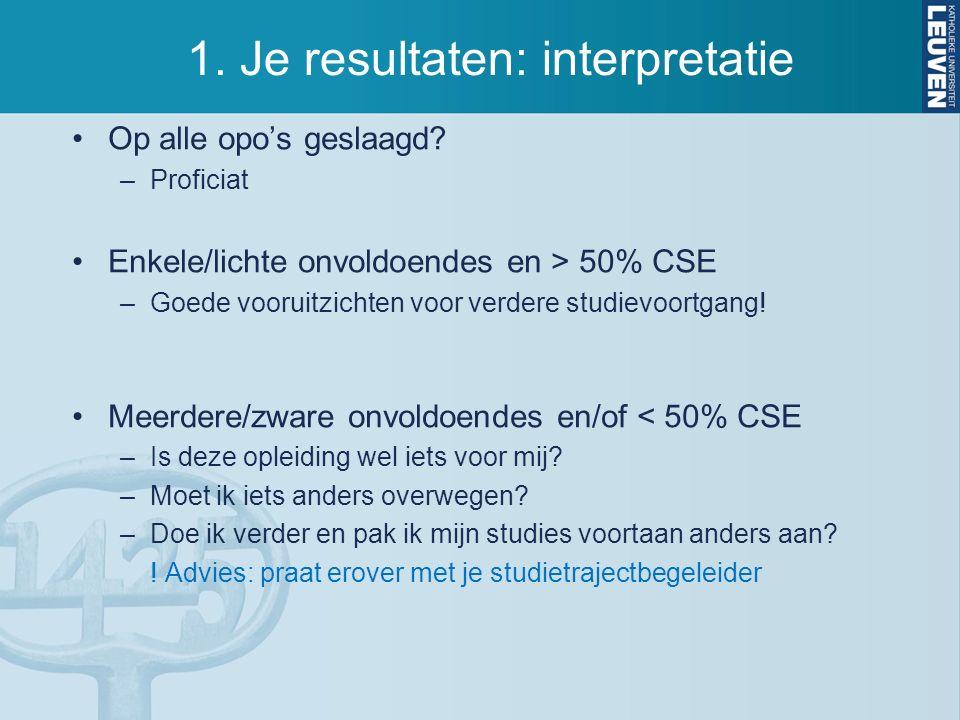 1. Je resultaten: interpretatie Op alle opo's geslaagd? –Proficiat Enkele/lichte onvoldoendes en > 50% CSE –Goede vooruitzichten voor verdere studievo