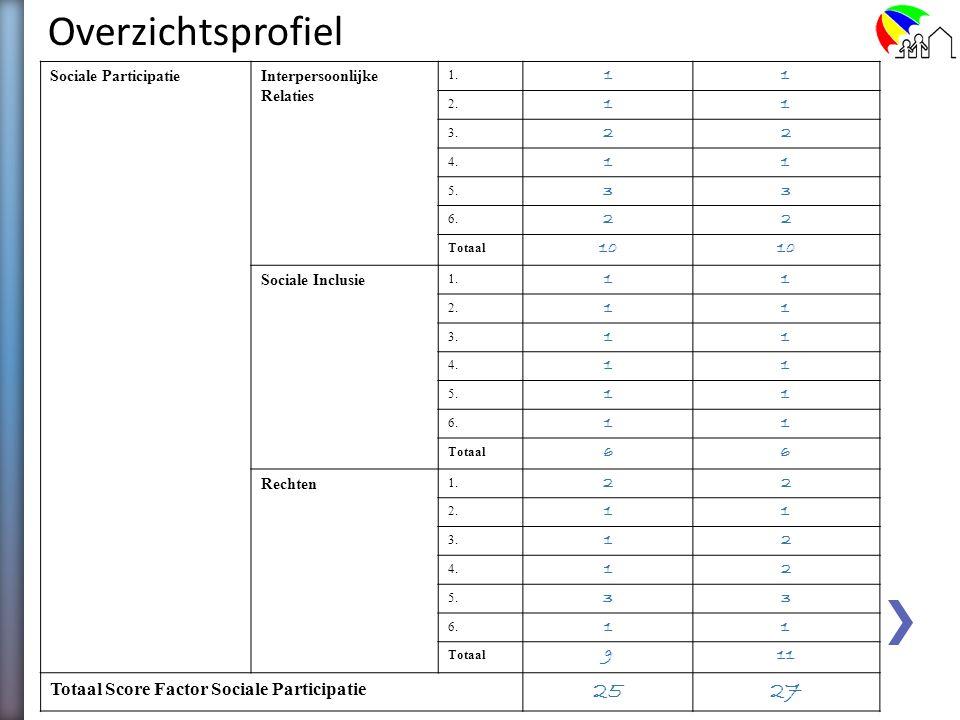 ZelfbeoordelingGeobjectiveerde beoordeling FactorDomeinItemScore OnafhankelijkheidPersoonlijke Ontwikkeling 1. 22 2. 11 3. 11 4. 22 5. 12 6. 11 Totaal