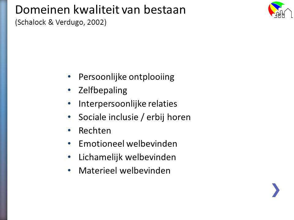 Empirisch Model van Kwaliteit van Bestaan (Schalock &Verdugo, 2002) Een belangrijk conceptueel kader voor: Het meten van personal outcomes Het richtin