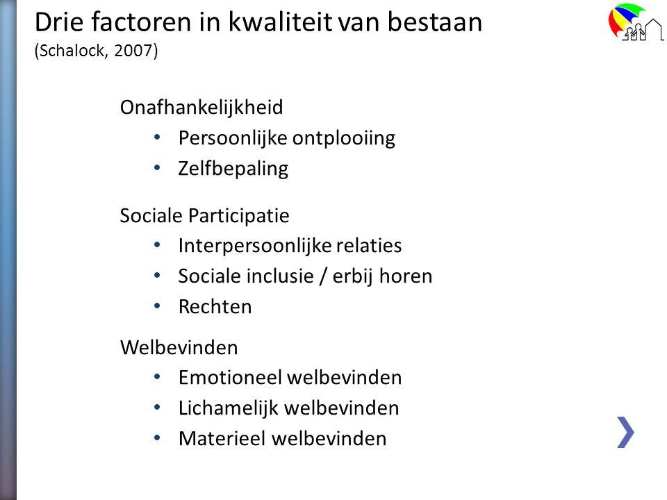 Domeinen kwaliteit van bestaan (Schalock & Verdugo, 2002) Persoonlijke ontplooiing Zelfbepaling Interpersoonlijke relaties Sociale inclusie / erbij ho