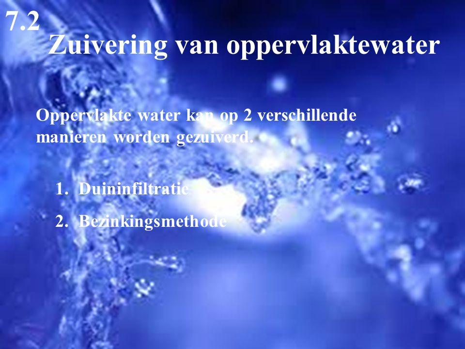 Zuivering van oppervlaktewater 7.2 Oppervlakte water kan op 2 verschillende manieren worden gezuiverd. 1.Duininfiltratie 2.Bezinkingsmethode