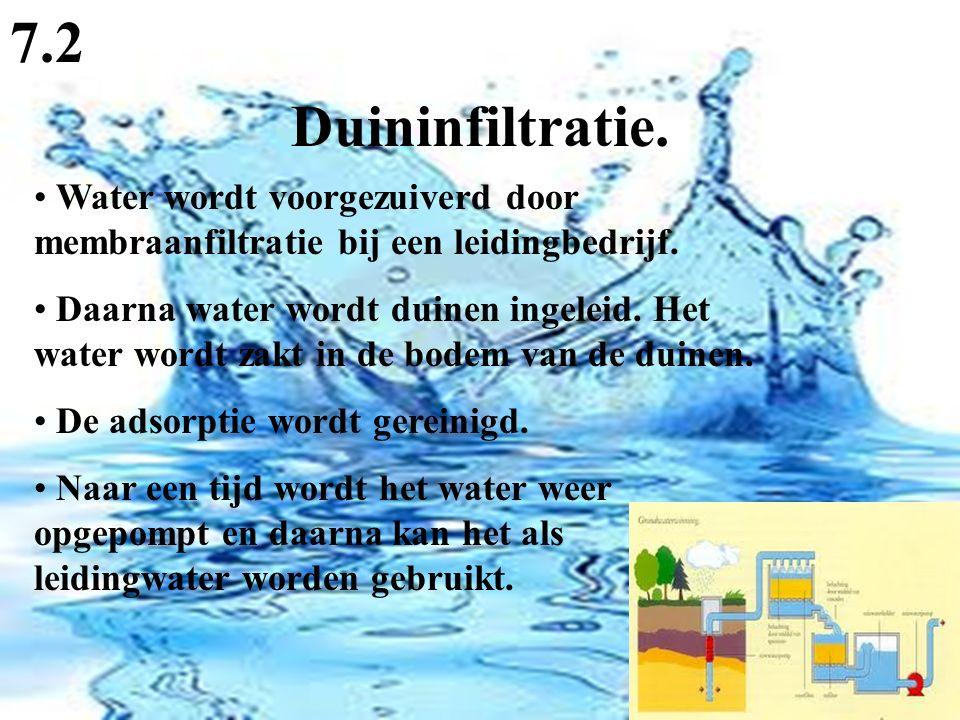 Duininfiltratie. 7.2 Water wordt voorgezuiverd door membraanfiltratie bij een leidingbedrijf. Daarna water wordt duinen ingeleid. Het water wordt zakt