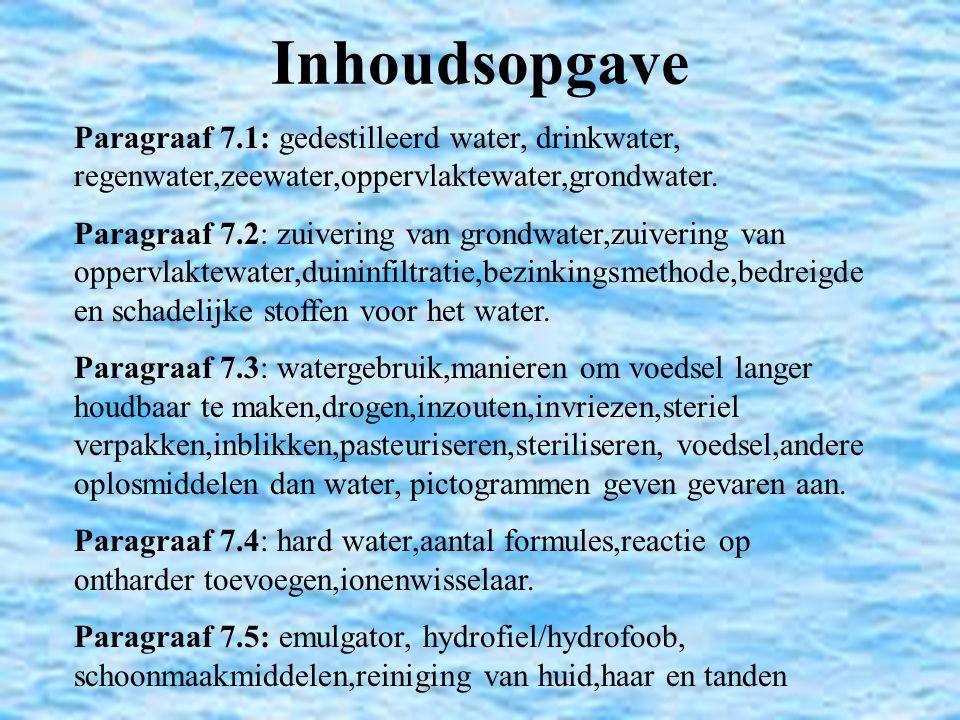Inhoudsopgave Paragraaf 7.1: gedestilleerd water, drinkwater, regenwater,zeewater,oppervlaktewater,grondwater. Paragraaf 7.2: zuivering van grondwater