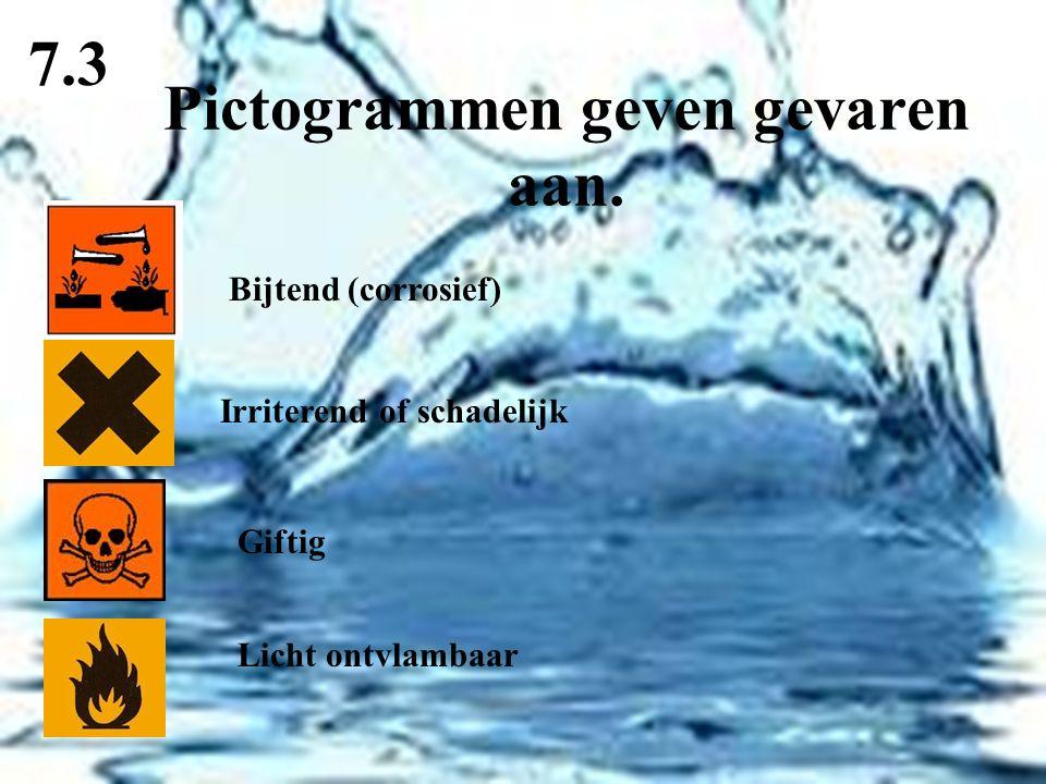 Pictogrammen geven gevaren aan. 7.3 Bijtend (corrosief) Irriterend of schadelijk Giftig Licht ontvlambaar