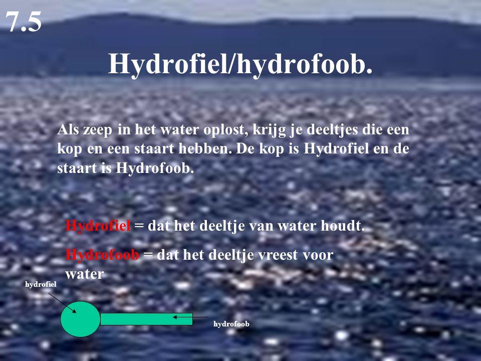 Hydrofiel/hydrofoob. 7.5 Als zeep in het water oplost, krijg je deeltjes die een kop en een staart hebben. De kop is Hydrofiel en de staart is Hydrofo