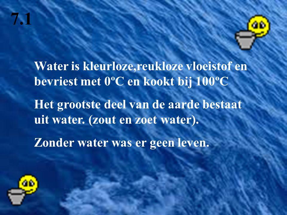 7.1 Water is kleurloze,reukloze vloeistof en bevriest met 0ºC en kookt bij 100ºC Het grootste deel van de aarde bestaat uit water. (zout en zoet water