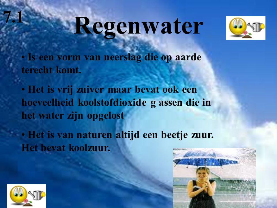 Regenwater Is een vorm van neerslag die op aarde terecht komt. Het is vrij zuiver maar bevat ook een hoeveelheid koolstofdioxide g assen die in het wa
