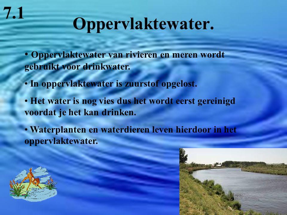 Oppervlaktewater. 7.1 Oppervlaktewater van rivieren en meren wordt gebruikt voor drinkwater. In oppervlaktewater is zuurstof opgelost. Het water is no