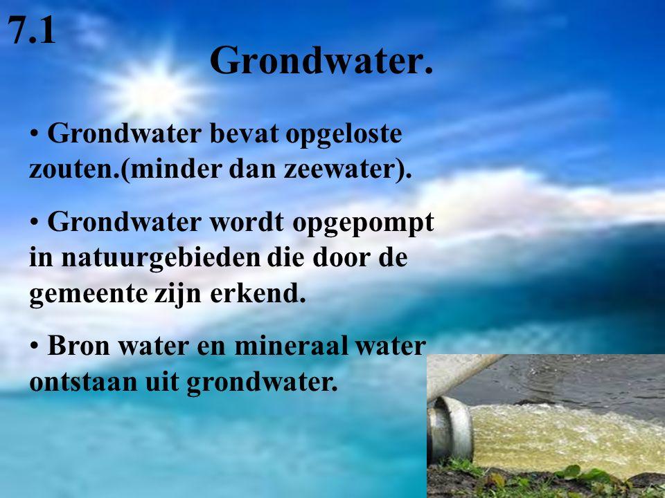 Grondwater. Grondwater bevat opgeloste zouten.(minder dan zeewater). Grondwater wordt opgepompt in natuurgebieden die door de gemeente zijn erkend. Br