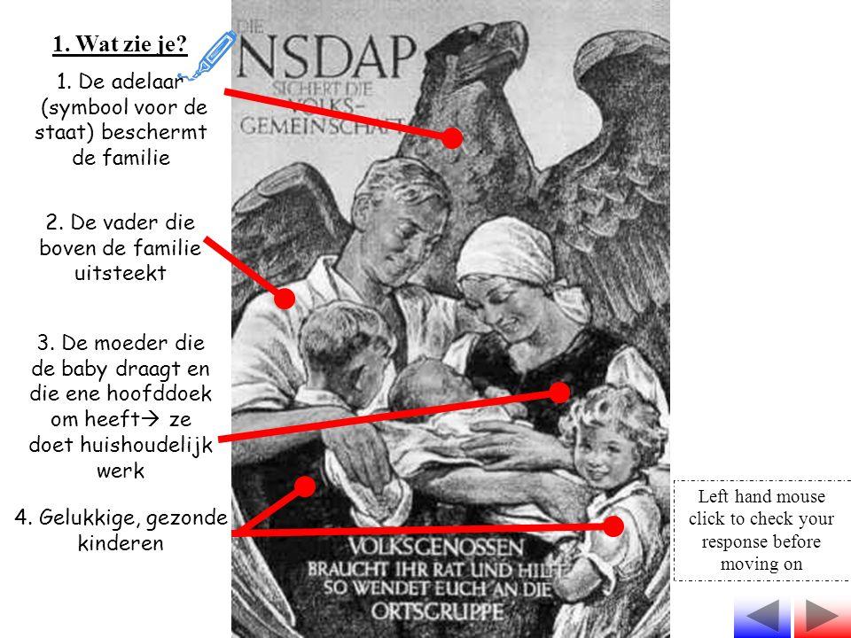 1. Wat zie je? 1. De adelaar (symbool voor de staat) beschermt de familie 2. De vader die boven de familie uitsteekt 3. De moeder die de baby draagt e