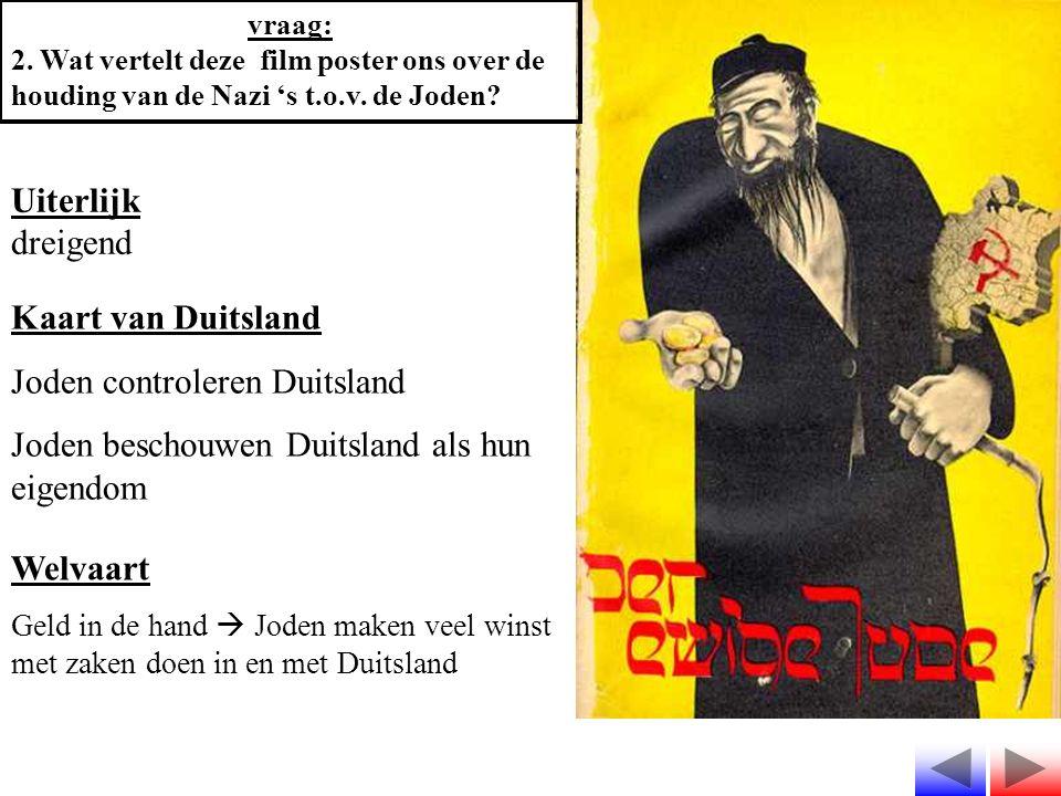vraag: 2. Wat vertelt deze film poster ons over de houding van de Nazi 's t.o.v. de Joden? Uiterlijk dreigend Kaart van Duitsland Joden controleren Du
