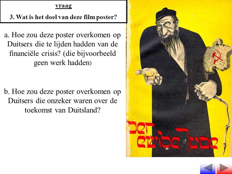 vraag 3. Wat is het doel van deze film poster? a. Hoe zou deze poster overkomen op Duitsers die te lijden hadden van de financiële crisis? (die bijvoo