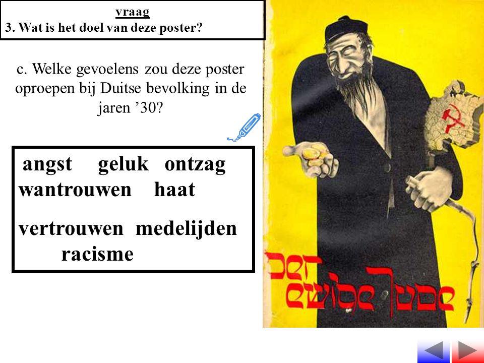 c. Welke gevoelens zou deze poster oproepen bij Duitse bevolking in de jaren '30? angst geluk ontzag wantrouwen haat vertrouwen medelijden racisme vra
