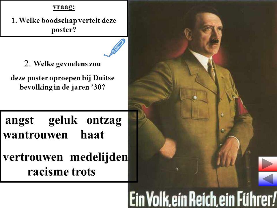 vraag: 1. Welke boodschap vertelt deze poster? 2. Welke gevoelens zou deze poster oproepen bij Duitse bevolking in de jaren '30? angst geluk ontzag wa