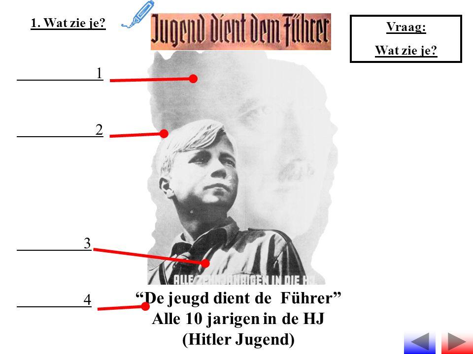 """""""De jeugd dient de Führer"""" Alle 10 jarigen in de HJ (Hitler Jugend) 1. Wat zie je? 1 2 3 4 Vraag: Wat zie je?"""