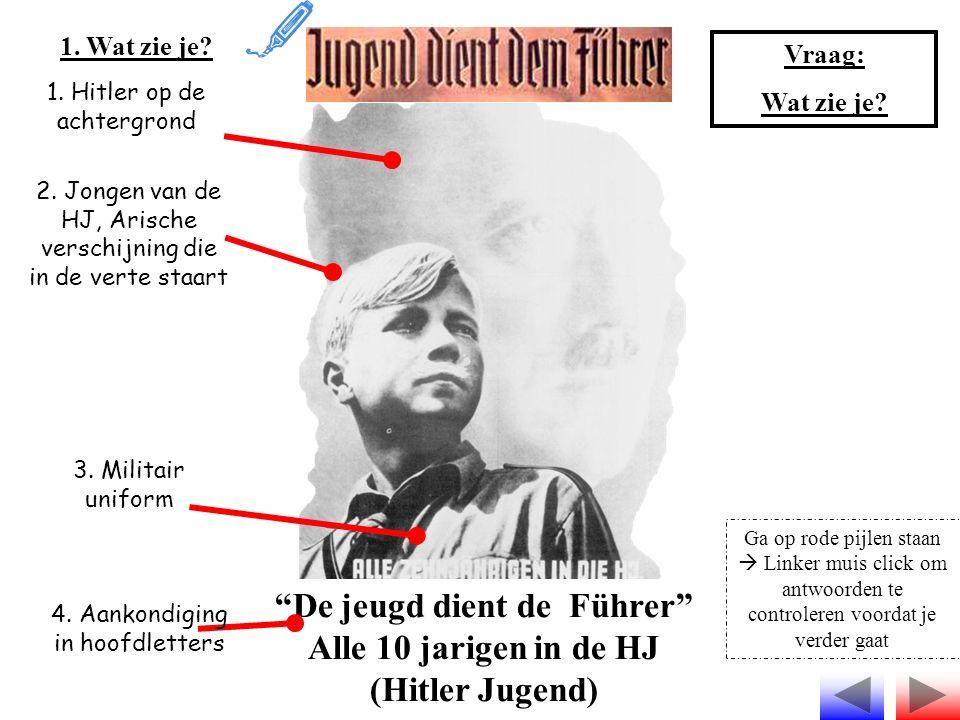 """""""De jeugd dient de Führer"""" Alle 10 jarigen in de HJ (Hitler Jugend) 1. Wat zie je? 1. Hitler op de achtergrond 2. Jongen van de HJ, Arische verschijni"""