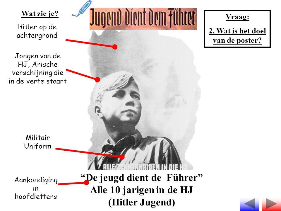 """""""De jeugd dient de Führer"""" Alle 10 jarigen in de HJ (Hitler Jugend) Wat zie je? Hitler op de achtergrond Jongen van de HJ, Arische verschijning die in"""