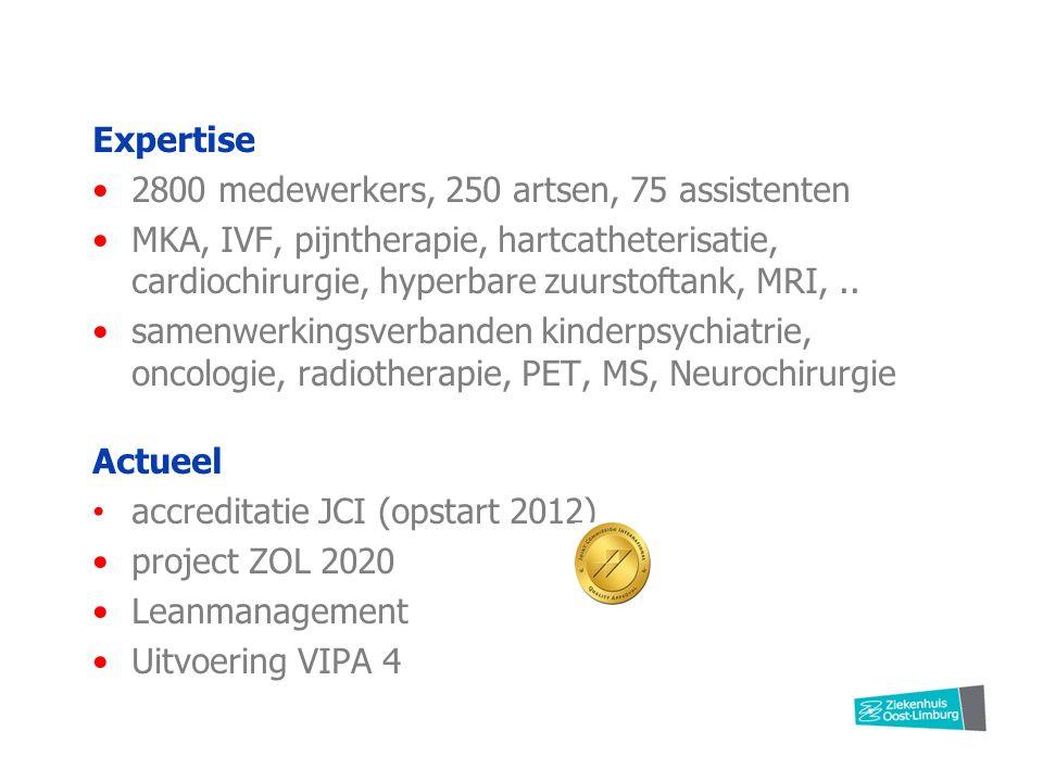 Expertise 2800 medewerkers, 250 artsen, 75 assistenten MKA, IVF, pijntherapie, hartcatheterisatie, cardiochirurgie, hyperbare zuurstoftank, MRI,..