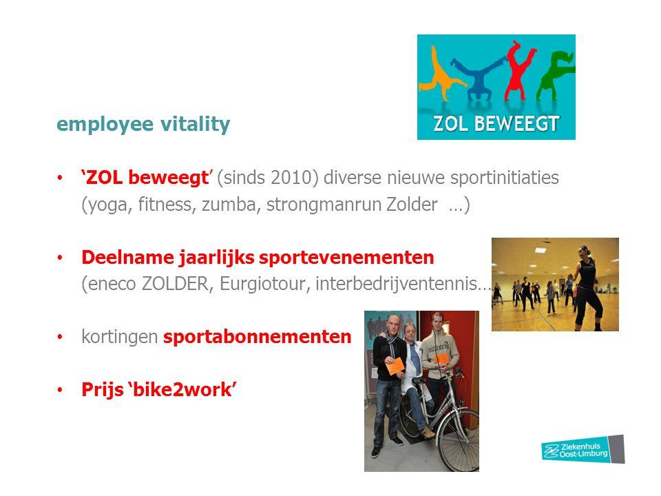 employee vitality 'ZOL beweegt' (sinds 2010) diverse nieuwe sportinitiaties (yoga, fitness, zumba, strongmanrun Zolder …) Deelname jaarlijks sportevenementen (eneco ZOLDER, Eurgiotour, interbedrijventennis…) kortingen sportabonnementen Prijs 'bike2work'