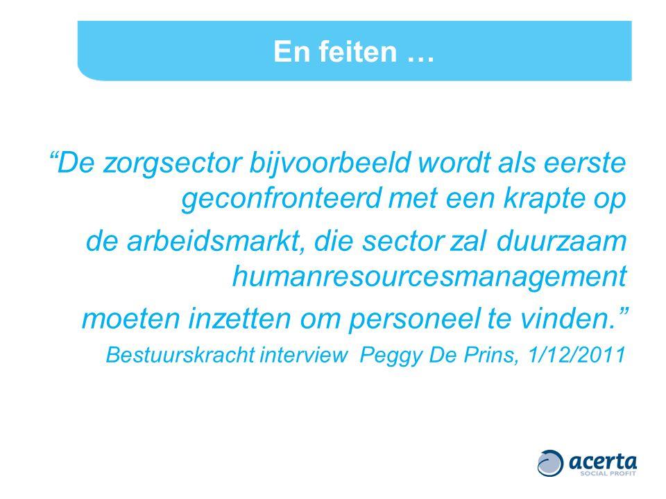 En feiten … De zorgsector bijvoorbeeld wordt als eerste geconfronteerd met een krapte op de arbeidsmarkt, die sector zal duurzaam humanresourcesmanagement moeten inzetten om personeel te vinden. Bestuurskracht interview Peggy De Prins, 1/12/2011