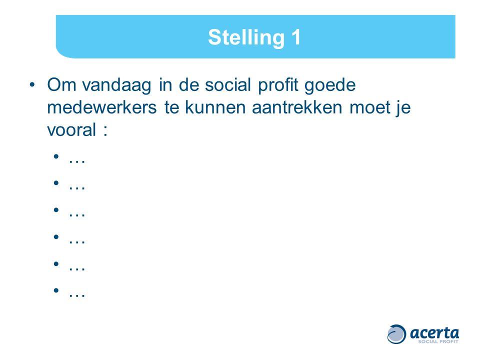 Stelling 1 Om vandaag in de social profit goede medewerkers te kunnen aantrekken moet je vooral : …