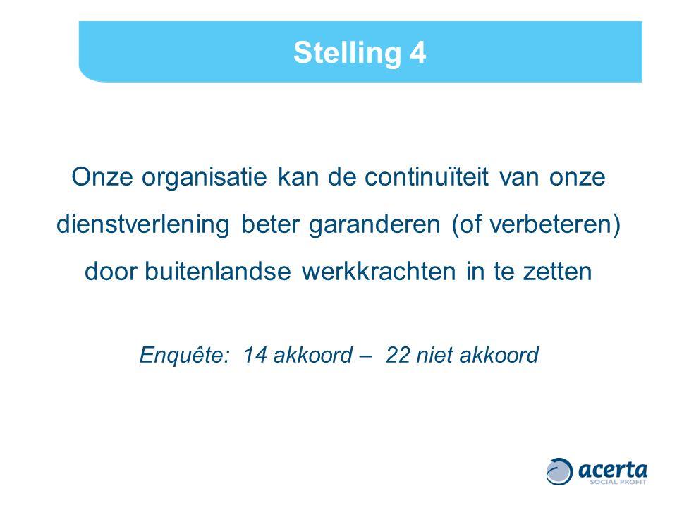 Stelling 4 Onze organisatie kan de continuïteit van onze dienstverlening beter garanderen (of verbeteren) door buitenlandse werkkrachten in te zetten Enquête: 14 akkoord – 22 niet akkoord