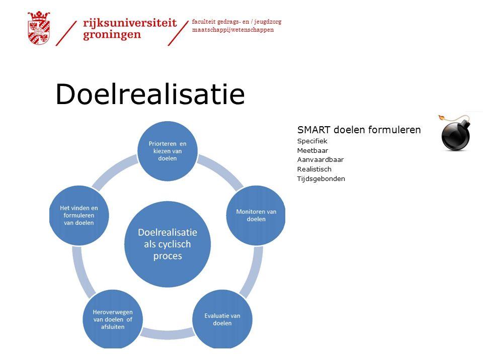 faculteit gedrags- en / jeugdzorg maatschappijwetenschappen Doelrealisatie SMART doelen formuleren Specifiek Meetbaar Aanvaardbaar Realistisch Tijdsgebonden