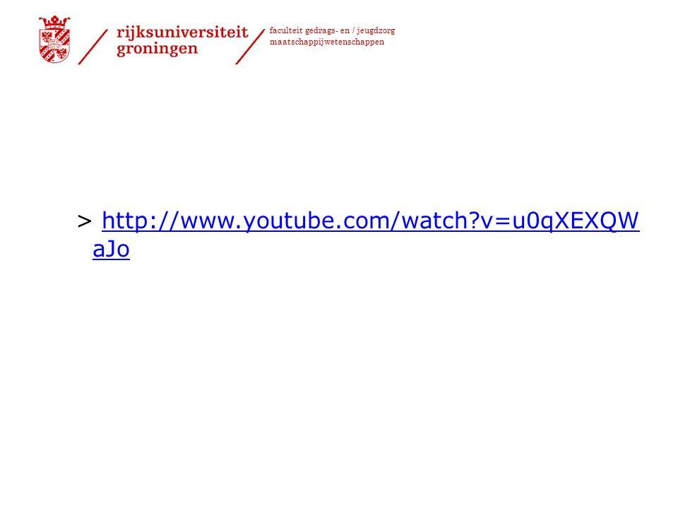 faculteit gedrags- en / jeugdzorg maatschappijwetenschappen > http://www.youtube.com/watch?v=u0qXEXQW aJohttp://www.youtube.com/watch?v=u0qXEXQW aJo