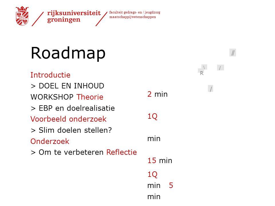 faculteit gedrags- en / jeugdzorg maatschappijwetenschappen Roadmap Introductie > DOEL EN INHOUD WORKSHOP Theorie > EBP en doelrealisatie Voorbeeld onderzoek > Slim doelen stellen.