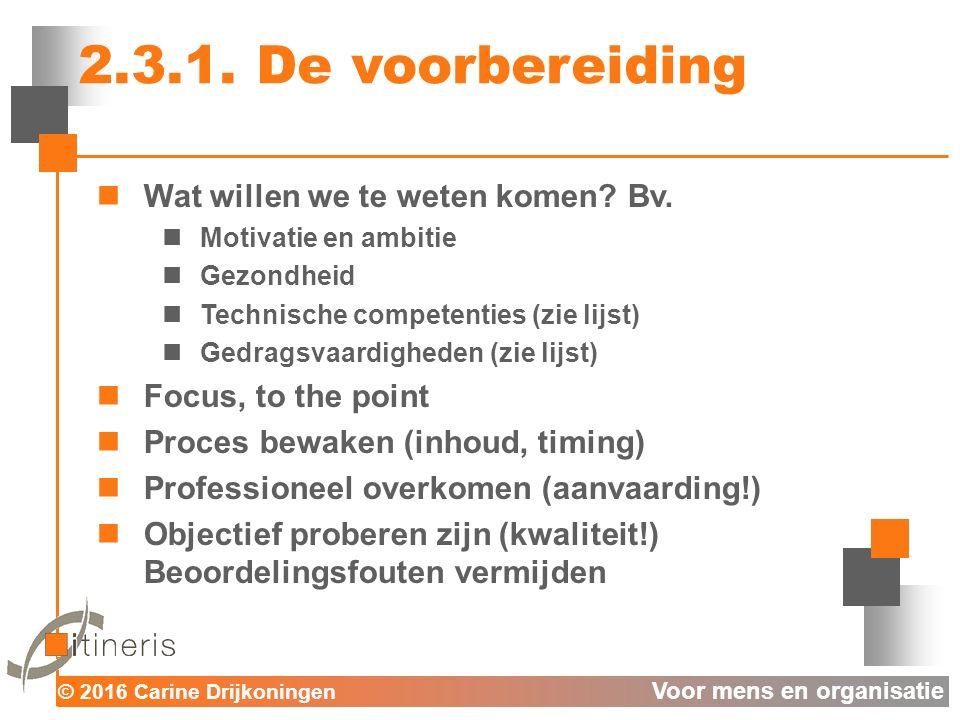 © 2016 Carine Drijkoningen Voor mens en organisatie 2.3.1.